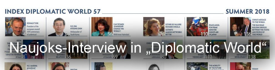 "Naujoks im Interview in der ""Diplomatic World"""